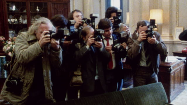 1985 montage lord mayor of london, mary donaldson at reception and meeting the press / city of london, england† - lord mayor of london city of london stock videos & royalty-free footage