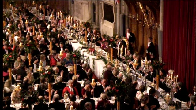 lord mayor's banquet at london's guildhall arrivals and gordon brown speech prime minister announced sot / gordon brown speech sot my lord mayor my... - state dinner stock videos and b-roll footage