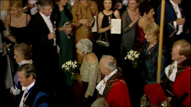 lord mayor's banquet gordon brown and lord mayor arrival england london guildhall photography*** jack straw mp arrives at lord mayor's banquet with... - jack straw stock videos and b-roll footage
