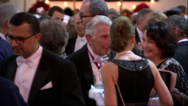 Lord Mayor's Banquet Guests mingling and procession ENGLAND London Guildhall INT Various of Theresa May MP and Philip May Justin Welby Charles Bowman...