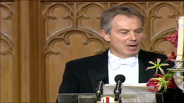 lord mayor's banquet held at london's guildhall prime minister tony blair speech tony blair mp annual foreign policy speech sot my lord mayor my late... - 2006 stock videos & royalty-free footage