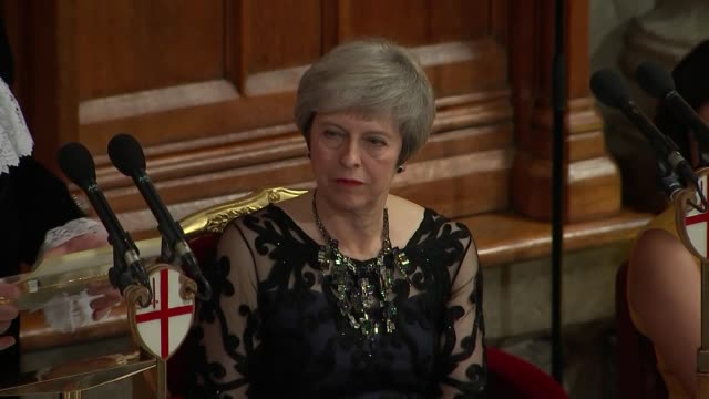 lord mayor's banquet justin welby and david gauke speeches england london city of london guildhall int trumpeters playing sot / peter estlin closing... - lord mayor of london city of london stock videos & royalty-free footage
