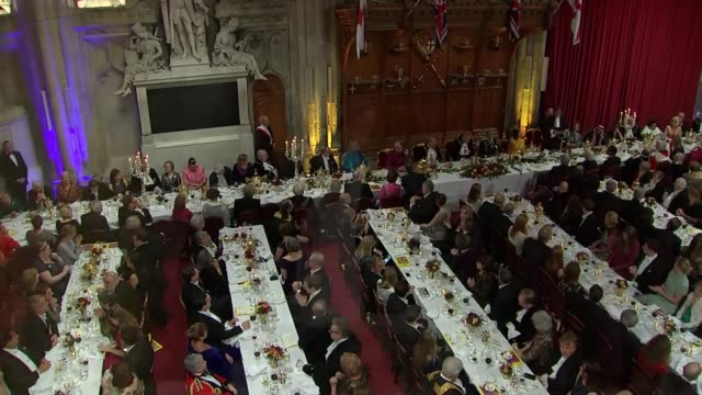 lord mayor's banquet justin welby and david gauke speeches england london city of london guildhall int trumpeters playing sot / david gauke speech sot - lord mayor of london city of london stock videos & royalty-free footage