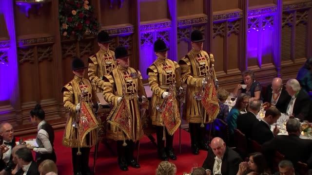 lord mayor's banquet justin welby and david gauke speeches england london city of london guildhall int **faint audio** trumpeters playing sot /... - lord mayor of london city of london stock videos & royalty-free footage