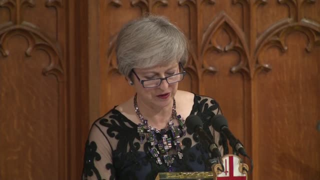 lord mayor's banquet peter estlin and theresa may speeches england london city of london guildhall int **music heard sot** theresa may mp speech sot - lord mayor of london city of london stock videos & royalty-free footage