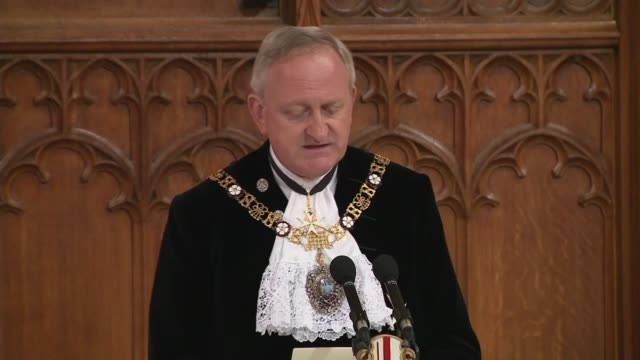 lord mayor's banquet peter estlin and theresa may speeches england london city of london guildhall int peter estlin speech sot / guests toasting - lord mayor of london city of london stock videos & royalty-free footage