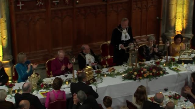 lord mayor's banquet peter estlin and theresa may speeches england london city of london guildhall int peter estlin speech sot - lord mayor of london city of london stock videos & royalty-free footage