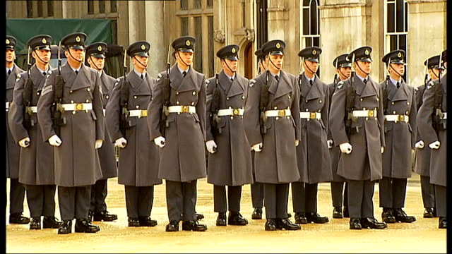 lord mayor's show procession through city of london england london ext uniformed troops marching mounted buglers playing fanfare sot raf troops lined... - lord mayor of london city of london stock videos & royalty-free footage