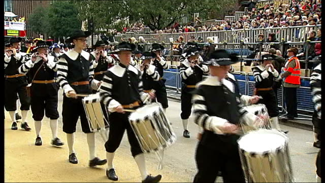 lord mayor's show take place in london england london city of london ext pipe and drum band marching along street as taking part in the lord mayor's... - lord mayor of london city of london stock videos & royalty-free footage