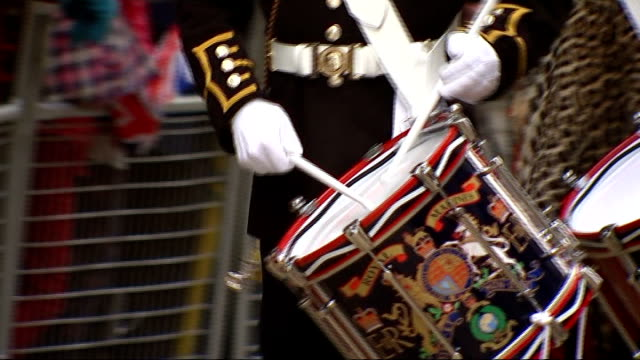 lord mayor's show takes place england london the city ext **music heard intermittently sot** eagle float and people wearing eagle costumes along in... - lord mayor of london city of london stock videos & royalty-free footage
