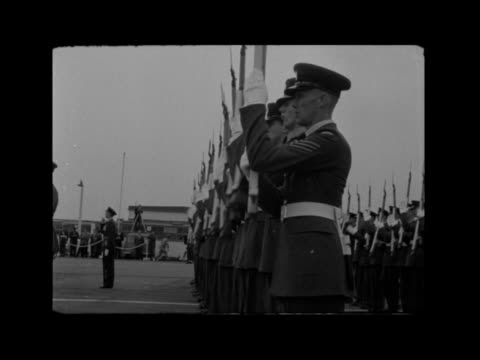 lord montgomery retires; france: paris: ext gvs farewell ceremony at supreme headquarters allied powers europe hq including field marshal bernard... - shaking stock videos & royalty-free footage