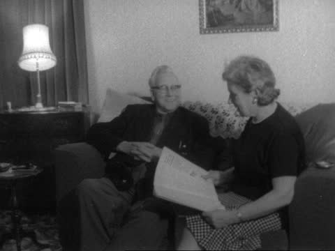 lord morrison of lambeth; england: london: eltham: int cms lord morrison of lambeth [herbert morrison] and lady morrison [edith morrison] on settee:... - sofa stock videos & royalty-free footage