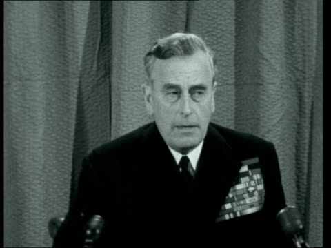 lord mountbatten retires at first sea lord press conference ***also london the admiralty louis mountbatten 1st earl mountbatten of burma press... - louis mountbatten 1st earl mountbatten of burma stock videos & royalty-free footage