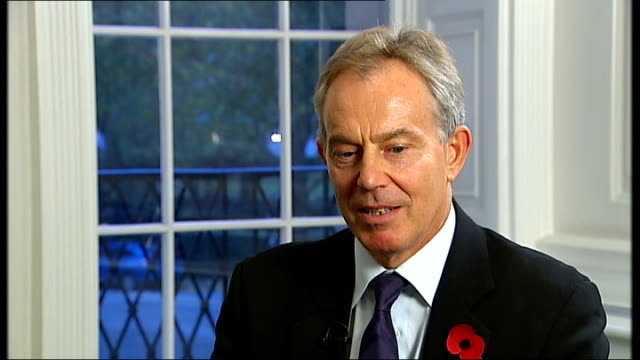 london int tony blair interview sot philip was an indispensable part of the whole project of making the labour party electable/ he was a strategist... - obsessive stock videos & royalty-free footage