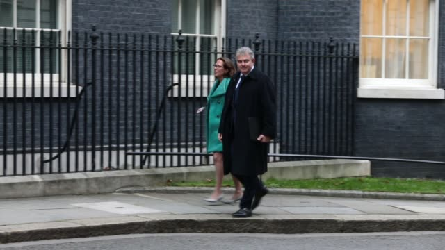 Lord Privy Seal and Leader of the House of Lords Baroness Evans and Tory Party Chairman Brandon Lewis arrive as government ministers attend the first...