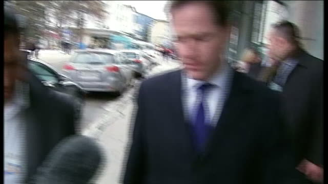 lord rennard sexual harassment allegations nick clegg interview in davos switzerland davos ext nick clegg mp 'doorstep' interview with channel 4 news... - クリス・レナード点の映像素材/bロール