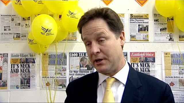 lord rennard sexual harassment claims / eastleigh byelection campaigns continue int nick clegg mp interview sot he left because of the health reasons... - クリス・レナード点の映像素材/bロール