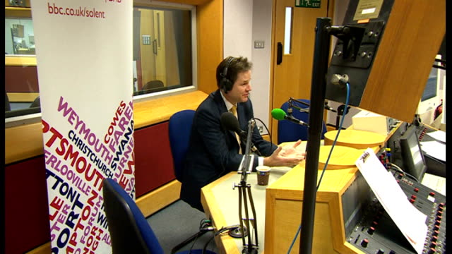 nick clegg response 2422013 southampton int nick clegg mp being interviewed on bbc radio solent - クリス・レナード点の映像素材/bロール