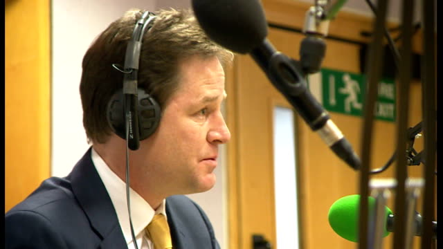 police looking at formal complaints southampton int side view nick clegg mp being interviewed on bbc radio solent - クリス・レナード点の映像素材/bロール