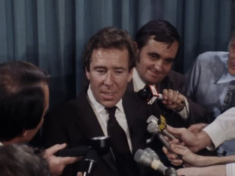 stockvideo's en b-roll-footage met lord snowdon avoids questions regarding the rumours of his imminent divorce from princess margaret at a conference in sydney to promote his... - prinses margaret windsor gravin van snowdon