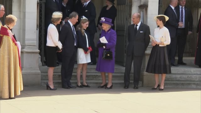 departures ENGLAND London Westminster EXT Queen Elizabeth II and Prince Philip leaving Westminster Abbey with Lord Snowdon's children David...