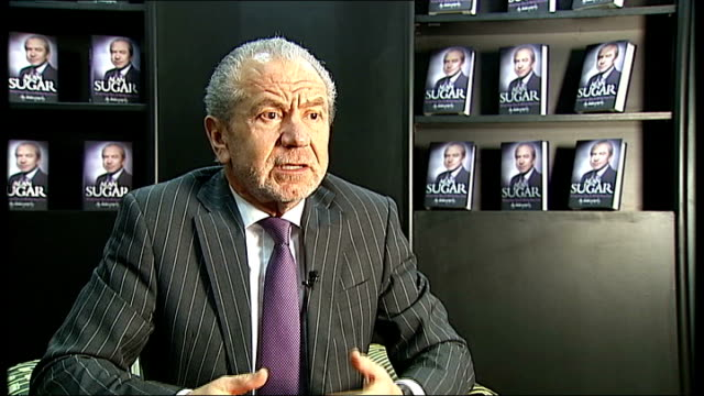 London INT Lord Sugar interview SOT On UK GDP growth of 08 per cent encouraging / Views on the coalition government and Clegg and Cameron can't form...