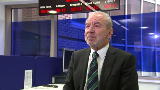london int lord sugar interview sot - alan sugar stock videos and b-roll footage