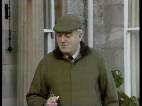 lord whitelaw death announced lib mat held millbank lord william whitelaw along on country estate in flat cap and jacket and holding a stick with... - field marshal stock videos and b-roll footage