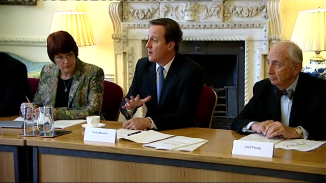 lord young's report on health and safety is published breakfast meeting at downing street england london downing street int 'prime minister' place... - card table stock videos & royalty-free footage