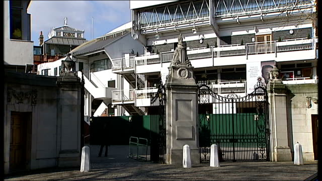 lord's cricket ground england london general views of lords cricket ground seen from entrance gates including mcc sign and red and yellow lords flag... - lords cricket ground stock videos and b-roll footage