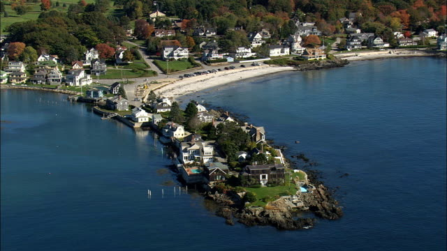 lord's point - aerial view - maine,  york county,  united states - maine stock videos & royalty-free footage