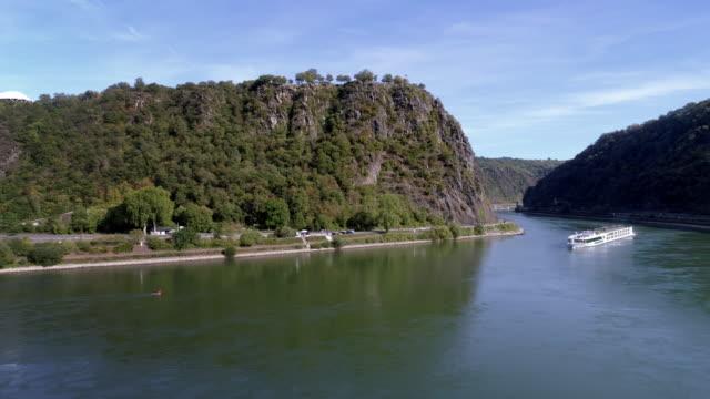 lorelei rock above the rhine river - passenger craft stock videos & royalty-free footage