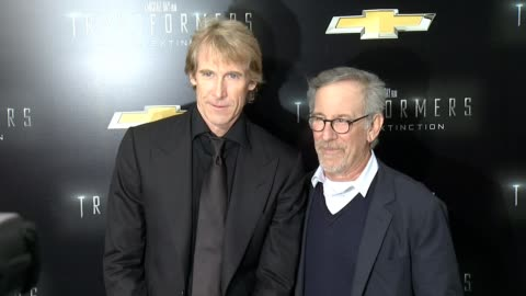 """lorenzo di bonaventura, michael bay and steven spielberg at """"transformers: age of extinction"""" new york premiere at ziegfeld theatre on june 25, 2014... - new age stock videos & royalty-free footage"""