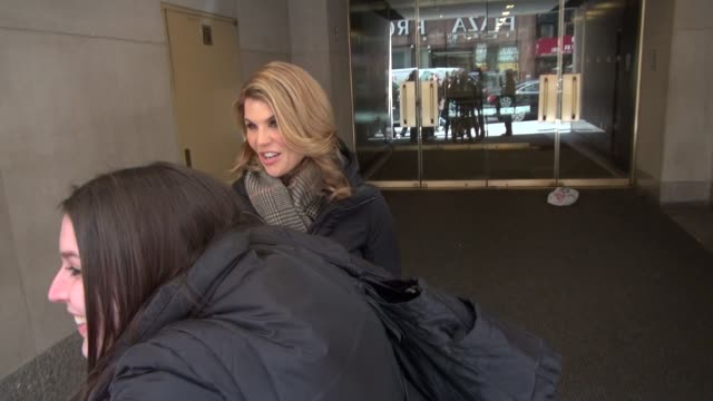 lori laughlin exits the today show in rockefeller center poses with signs for fans before getting into her car in celebrity sightings in new york - lori loughlin stock videos & royalty-free footage