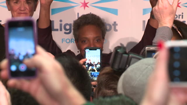 wgn lori lightfoot and toni preckwinkle both advanced on february 26 to the chicago runoff election after lightfoot won 175 percent of the vote and... - politician stock videos & royalty-free footage