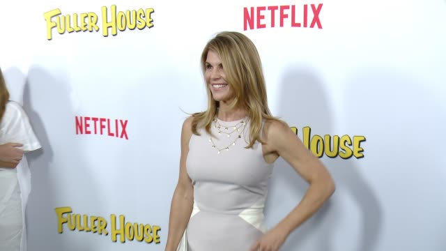 lori loughlin at the netflix's fuller house premiere at pacific theaters at the grove on february 16 2016 in los angeles california - lori loughlin stock videos & royalty-free footage