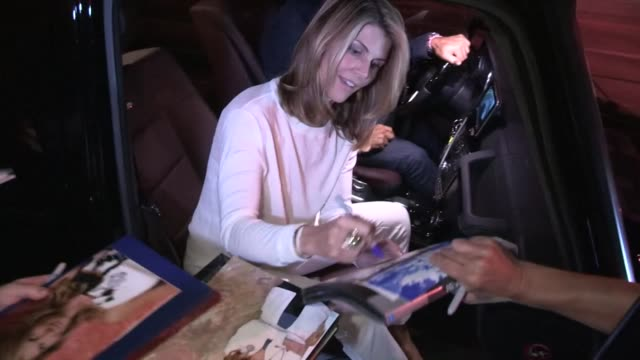 lori loughlin mossimo giannulli greet fans while departing madeo in beverly hills at celebrity sightings in los angeles lori loughlin mossimo... - lori loughlin stock videos & royalty-free footage