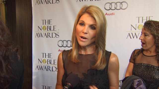 lori loughlin on the event how she chooses her charities at the noble awards at beverly hills ca - lori loughlin stock videos & royalty-free footage