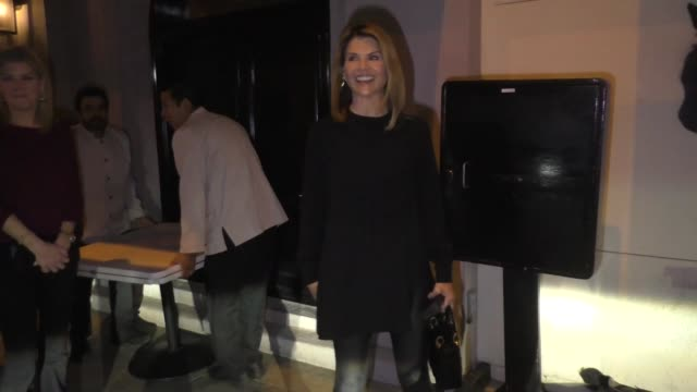 interview lori loughlin shares her thoughts on elon musk's hyperloop after dinner at craig's in west hollywood in celebrity sightings in los angeles - lori loughlin stock videos & royalty-free footage