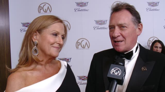 vidéos et rushes de lori mccreary and gary lucchesi at 29th annual producers guild awards presented by cadillac at the beverly hilton hotel on january 20, 2018 in... - producer's guild of america awards