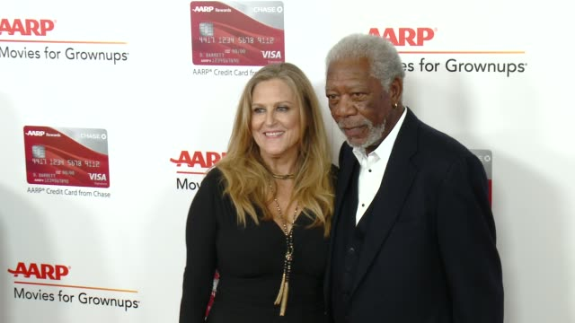 lori mccreary morgan freeman at aarp's 16th annual movies for grownups awards in los angeles ca - morgan freeman stock videos & royalty-free footage