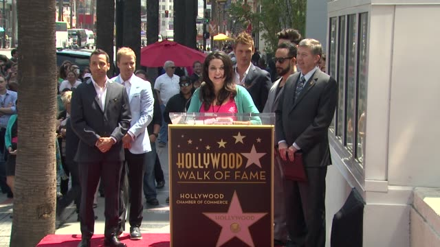 speech lori meono on following the backstreet boys career and how proud she is to be here today at backstreet boys celebrate 20 year career with star... - backstreet boys stock videos & royalty-free footage