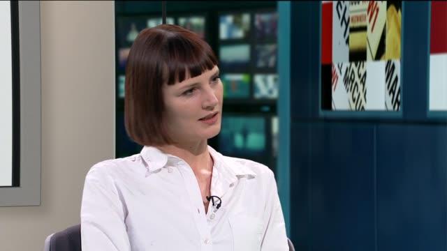 lorna tucker releases vivenne westwood documentary; lorna tucker interview sot cuatways reporter - tucker stock videos & royalty-free footage