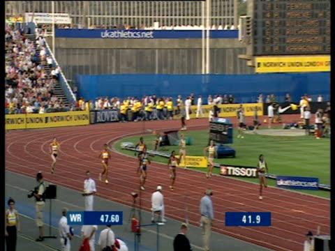 lorraine fenton wins women's 400m crystal palace grand prix 2003 london - sportlerin stock-videos und b-roll-filmmaterial