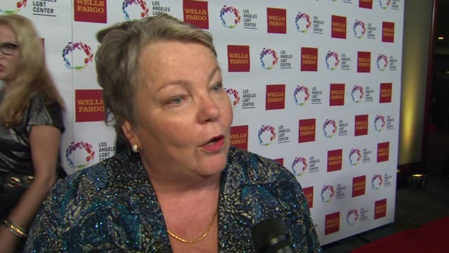 stockvideo's en b-roll-footage met interview lorri l jean on the event at los angeles lgbt center 46th anniversary gala vanguard awards at the hyatt regency century plaza on november... - anniversary gala vanguard awards