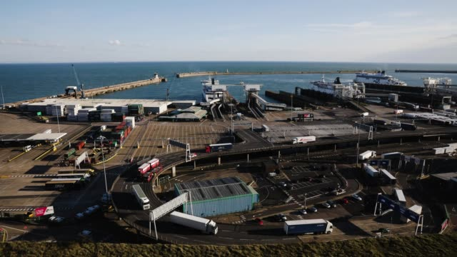 Lorries arrive and depart from Dover Ferry Terminal on April 4 2019 in Dover England It has been reported the Theresa May has written to the EU...