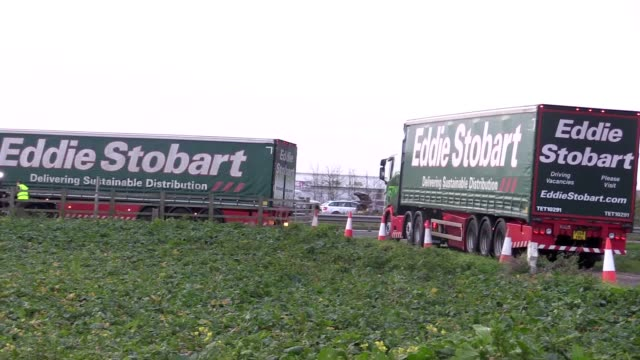 lorries have started to arrive at manston airport near ramsgate in kent to begin the government's first major test of its plans for uk border... - ramsgate stock videos and b-roll footage