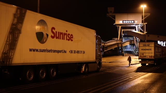 lorries wait to board a ferry at the port of dover in the early hours on march 5 2018 in dover england the haulage industry faces an uncertain future... - haulage stock videos & royalty-free footage