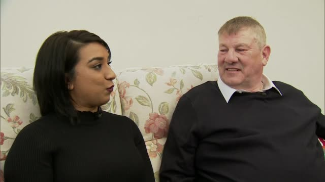 lorry driver who pulled woman from burning car presented with award; england: int pari mistry interview as with john rastrick sot - berufsfahrer stock-videos und b-roll-filmmaterial