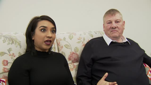 lorry driver who pulled woman from burning car presented with award; england: int pari mistry set up shots with john rastrick and reporter sot - berufsfahrer stock-videos und b-roll-filmmaterial